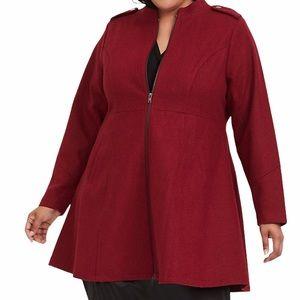 EUC Torrid Women's Dark Red Woolen Swing Coat 2
